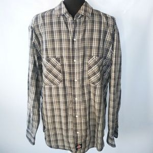 Dickies plaid pearl snap button up